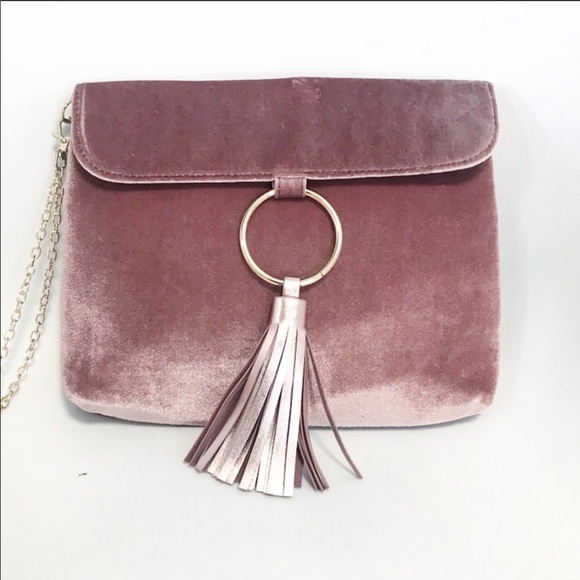 Handbags - Velvet rose pink clutch with chain wrist strap
